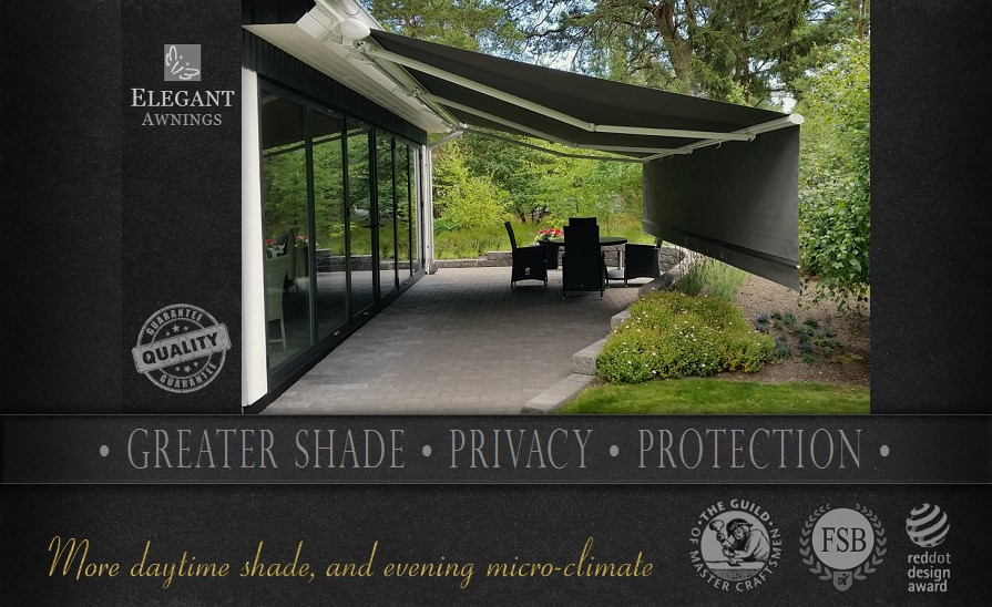 Awnings with drop down valance screens give greater protection