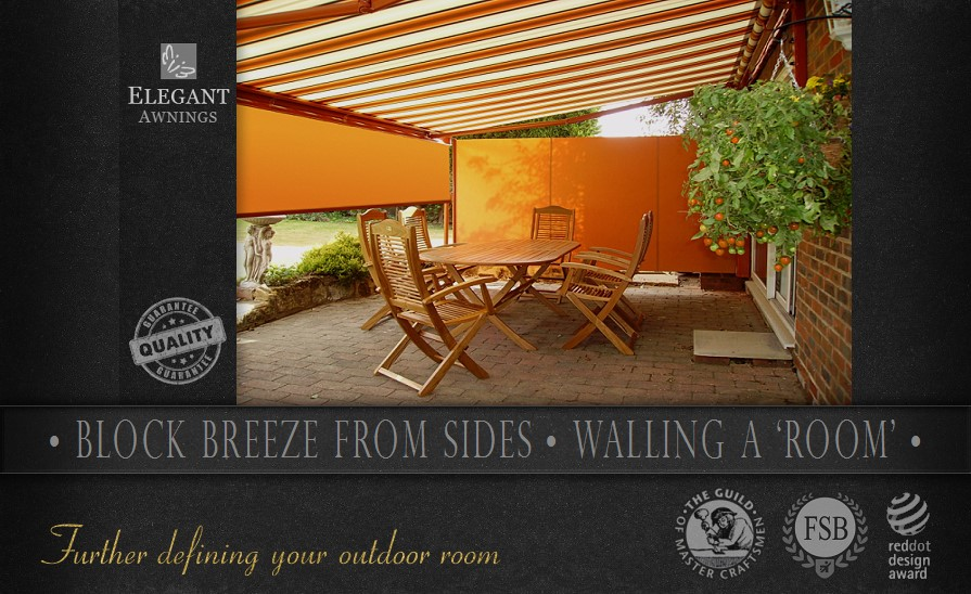 Awnings with sides can wall an outdoor room