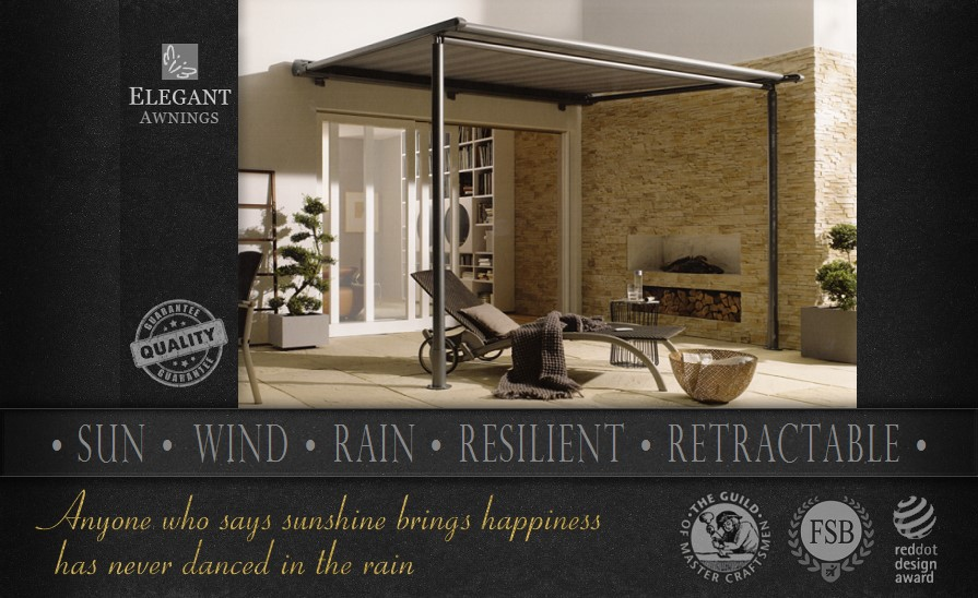 All weather awnings offer retractable protection from sun, wind and rain